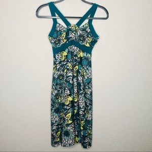 PrAna Floral Teal Dress Small
